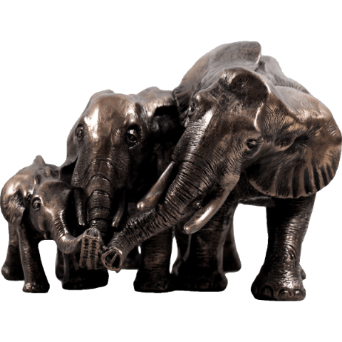 Family of Elephants Cold Cast Bronze Animal